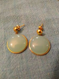 Vintage Sterling Silver 925 Light Chinese Jade Earrings
