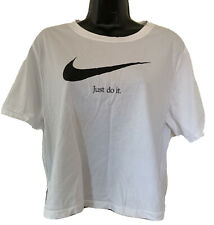 Nike Women's Cropped T Shirt Spellout Logo White Size Large Just Do It