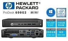 HP Prodesk G600 G2 Mini - I3-6100T 16GB RAM 250GB NVMe SSD HDD Windows 10 PRO