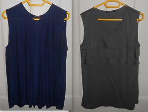 lot de 2 tuniques blouses monoprix gris bleu marine 42 44 46