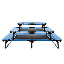 Elevated Camping Pet Cot Raised Dog Cat Lounger Bed Steel Frame Portable Blue