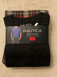 Nautica men's sleepwear short sleeve tee And flannel Pant Size M
