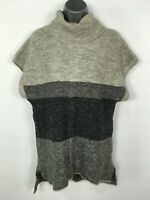 WOMENS M&S GREY MIX KNITTED SLEEVELESS ROLL NECK JUMPER SWEATER PULLOVER SMALL
