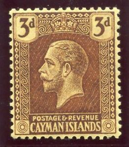 Cayman Islands 1921 KGV 3d purple/pale yellow MLH. SG 60b.