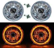"7"" Halogen H4 Headlight Headlamp Amber LED Halo Angel Eyes Light Bulbs 12 Volt"