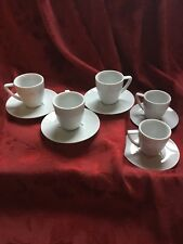 Flawless Stunning Nespresso Collection Embossed Logo Demitasse Pair Cups Saucers