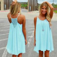 Women Summer Chiffon Dress Sleeveless Boho Beach Sundress Casual Party Wear