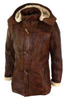 Men's Brown 3/4 Tan Hooded Duffle Safari Fur Winter Long Real Leather Jacket