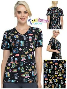 New Women's Cherokee Tooniforms TF625 V-Neck Print Scrub Top In Rule The Galaxy