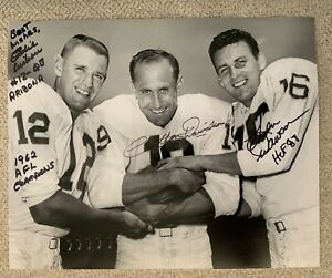 Len Dawson, Eddie Wilson Cotton Davidson signed DALLAS TEXANS 8 X 10 photo  RARE