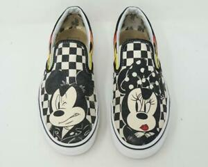Vans Mickey & Minnie Mouse Flames Checkerboard Slip On Shoes US Men 8/Women 9.5