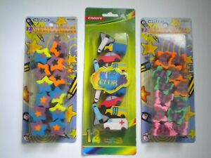 3 PACKAGES OF ASSORTED PENCIL TOPPER ERASERS ~ Butterflies, Automobiles, Stars