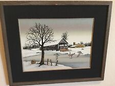 ORIGINAL PAINTING TITLED 'SNOW SUITE' BY W. ADAMS IN RUSTIC WOOD FRAME OIL INK
