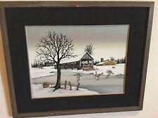 ORIGINAL PAINTING TITLED 'SNOW SUITE' BY W. ADAMS IN RUSTIC WOOD FRAME OIL INK