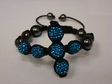 ARM CANDY SHAMBALLA HONESTY SIDEWAYS CRYSTAL RHINESTONE CROSS BRACELET TURQ