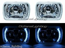 7X6 White LED Halo Halogen Crystal Clear Headlights Angel Eye H4 Light Bulbs Pr