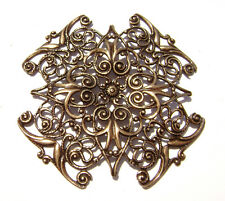 2165 Antiqued Brass Sterling Silver Filigree Square Centerpiece Component Charm
