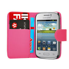 Rosa Wallet Leder Case Handy Cover Samsung Galaxy Young GT S-S6310L GT S6310N