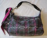 Coach signature E061-2156 Black Fuscia sparkle plaid purse shoulder bag EUC