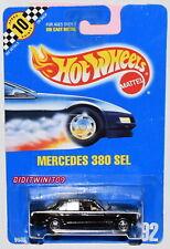 HOT WHEELS 1990 BLUE CARD MERCEDES 380 SEL #92 BLACK W/ HOT ONE TIRES 27 W+