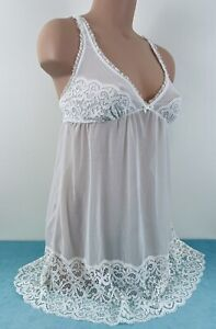 Gilligan & O'Malley Chemise Slip Ivory Cream Mesh Floral Lace Crochet Small