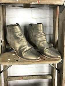 Joie Metallic Pebbled Leather Ankle Boots Booties Women's Size 40 or 10