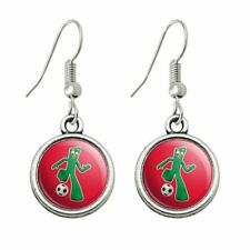 Sporty Gumby Soccer Ball Player Clay Art Novelty Dangling Drop Charm Earrings