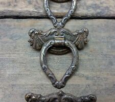 ONE Vtg Fancy Ornate SHABBY Rustic Metal Victorian SWAG Pull Handle Drawer