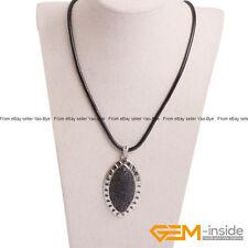 "Marquise Lava Volcanic Sponge Stone Fashion Pendant Leather Necklace 18"" 30x60mm"