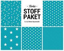 Stoffpaket türkis 5x (0,5 x 1,50m) Patchworkpaket Baumwolle Nähpaket DIY Stoffe