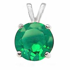 1.25 ct. Emerald Solitaire Pendant Necklace in Solid Sterling Silver