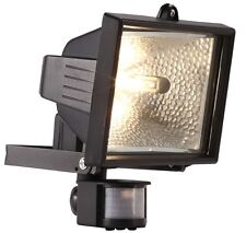 400W Garden Halogen Floodlight c/w PIR Black Security Light + FREE Lamp/Bulb