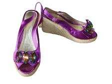 Grano de gran tamaño púrpura zapatos talla 38 Reino Unido 5 > damas con tacón de cuña