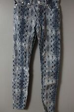 Rock & Republic Snakeskin Skinny Jeans SZ 0 Blue Slim Stretch pants Denim Womens