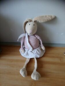 Peluche doudou lapin beige rayures jupe pois Boutchou Bout'chou Monoprix