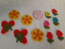Lot of 12 Vintage 1970's Flower Strawberry Crochet Crewel Appliques Patches