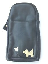 Dog Black Real Leather Glasses Case Phone Pouch Mobile Holder