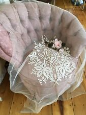 Lovely Antique French Tambour Lace Cotton Netting Needlework #B26