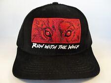 Red Wolf Vintage Strapback Cap Hat Anheuser Busch Black