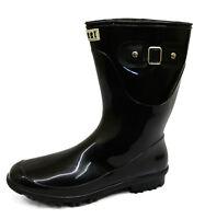 LADIES BLACK FLAT WELLINGTON WELLIES RUBBER RAIN CALF WALKING FESTIVAL BOOTS 4-8