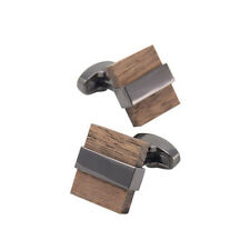 Black Deluxe Stainless Steel Square Cufflinks Men's Real Wood Cuff Links Wedding