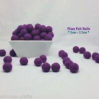 2cm 100/% Wool Handmade Plum Colour Felt Balls Bead Pom Pom Home Decor DIY Crafts