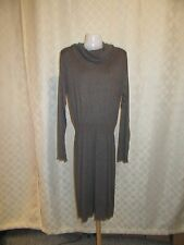 Long Sleeve Turtleneck Sweater Dress LG Daisy Fuentes  color Beige Gray ,Soft NW