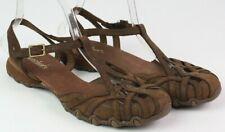 Skechers womens size 9 brown leather Bikers Caliper t-strap slingback sandal