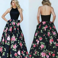 Women Long Ball Gown Floral Dress Formal Party Evening Cocktail Prom Maxi Dress
