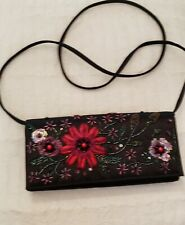 Vanessa Crossbody Black Evening Bag with Beaded Red Accent & Detachable Strap