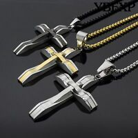 """24"""" Men's Black Silver Gold Stainless Steel Jesus Cross Pendant Chain Necklace"""