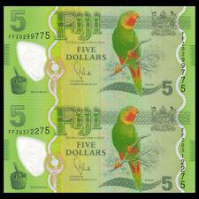 Fiji UNCUT SHEET 2 PCS, 5 Dollars, ND(2013), P-115, Polymer, banknote, UNC