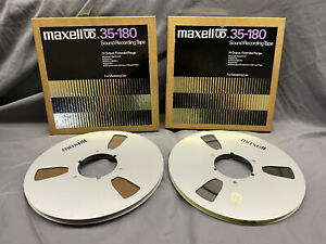 """2 Maxell UDXL 35-180 10.5"""" Metal Reel to Reel Tapes in Boxes 1/4"""" audio tape"""