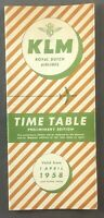 KLM ROYAL DUTCH AIRLINES PRELIMINARY TIMETABLE APRIL 1958 K.L.M.